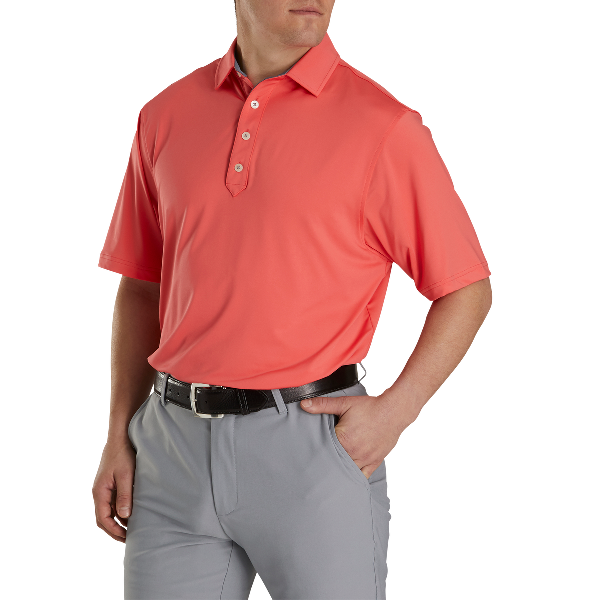 Athletic Fit Lisle Solid Self Collar
