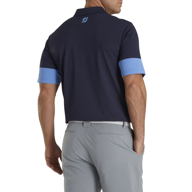 Athletic Fit Pique Block Sleeve Knit Collar