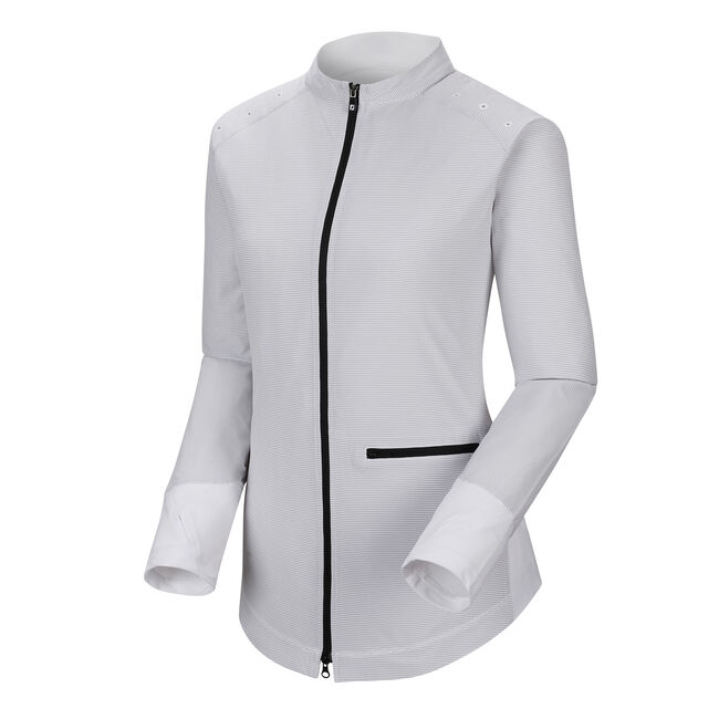 Full-Zip Woven + Knit Panels Women