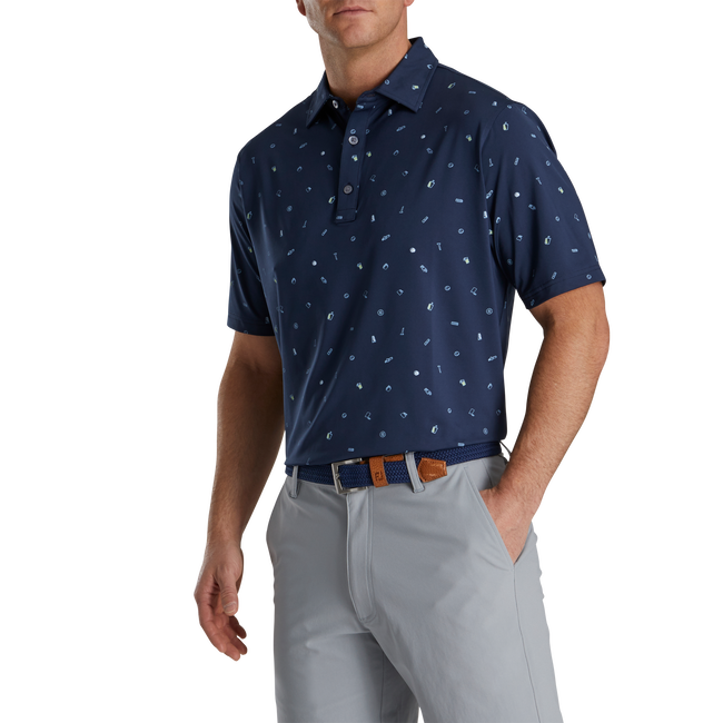 Golf Doodle Print Lisle Self Collar