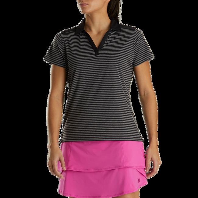 Lisle Tonal Stripe Open Neckline Women-Previous Season Style