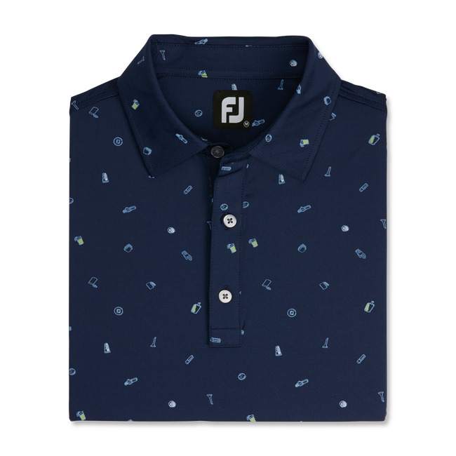 Golfbag Doodle Print Lisle Self Collar