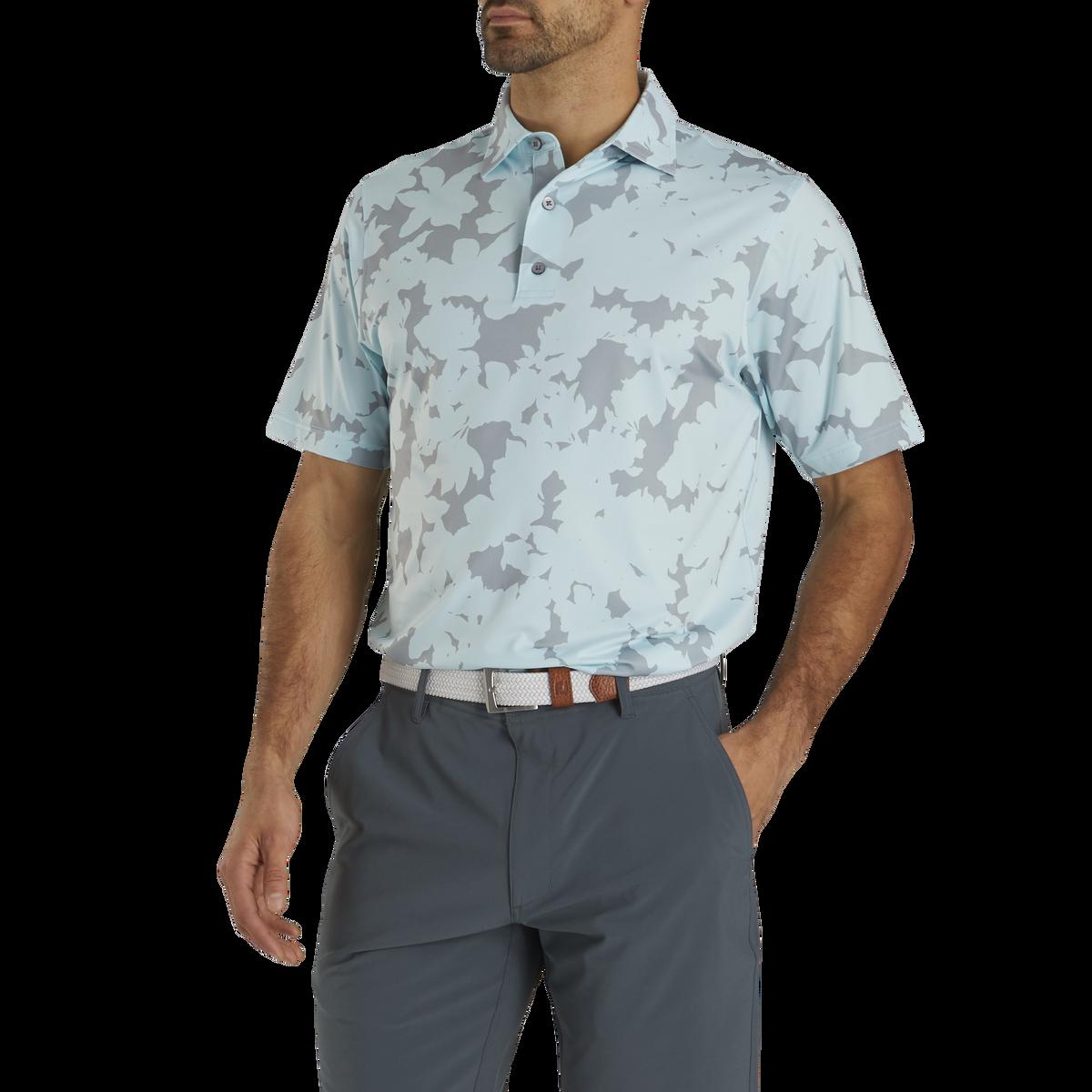 Athletic Fit Lisle Camofloral Print Self Collar